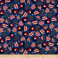 Timeless Treasures Stars & Stripes American Flag Hearts Navy