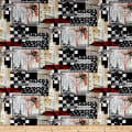 Timeless Treasures Boo Crew Spooky Document Collage Black