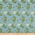 Telio Digital Linen Floral Bee Vintage Blue