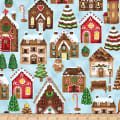 Hoffman Metallic Candy Cane Lane Gingerbread Houses Clouds/Silver