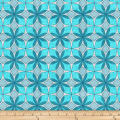 Stoffabric Denmark Vilma Graphic Flowers Turquoise