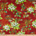 Northcott Deck the Halls Poinsettia with Birds Red