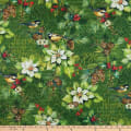 Northcott Deck the Halls Poinsettia with Birds Green