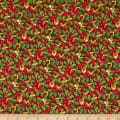 Northcott Xmas Delivery Holly Toss Red/Multi