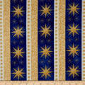 Northcott Angels Above Metallic Starry Stripe Royal