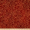 Northcott Angels Above Metallic  Large Scroll Red