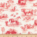 Kaufman Down On The Farm Toile Red