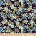 Kaufman Imperial Collection Metallic 15 Tiny Floral Navy