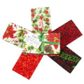 Fabric Editions Holiday Christmas Floral Fat Quarter Bundle 5 Pcs