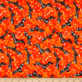Fabric Editions Holiday Spooky Night Bats Orange