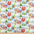Fabric Editions Holiday Santas Helpers Santa Scenes White