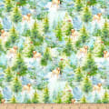 Fabric Editions Holiday Santas Helpers Puppies in the Trees Green