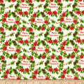 Fabric Editions Holiday Christmas Floral Wreaths Multi