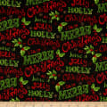 Fabric Editions Holiday Christmas Floral Christmas Words Black