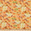 Fabric Editions Holiday Rustic Harvest Pumpkin Patch Orange