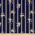 Telio Bloom Stretch Cotton Sateen Print Floral Stripe Navy