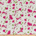 Telio Cotton Swiss Dot Print Floral White Fuchsia