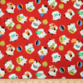 Trans-Pacific Textiles Asian Lucky Cat in the Neko Wave Red