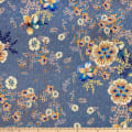 French Digital Print Viscose Challis Blue/Orange
