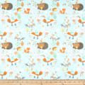 Comfy Flannel Print Woodland Animals Turquoise