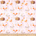 Comfy Flannel Print Woodland Animals Pink