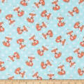 Comfy Flannel Print Foxes Blue