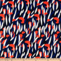 Swimwear Nylon Spandex Tricot Knit Abstract Navy/Orange