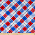 Swimwear Nylon Spandex Tricot Knit Plaid Red/Royal/White