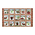 """Henry Glass Flannel Woodland Haven 24"""" Block Panel Brown/Multi"""