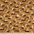 Henry Glass Flannel Woodland Haven Canoe, Tents & Animals Allover Brown