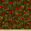 Henry Glass Flannel Woodland Haven Cardinal & Branches Brown/Multi