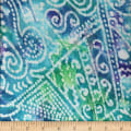 Textile Creations Rayon Challis Batik Scroll Patch Design Aqua