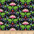 Wilmington Rainbow Flight Damask Black