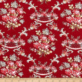 Wilmington Rhapsody In Reds Floral Damask Red