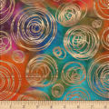 Textile Creations Urban Ethnic Metallic Circles Orange/Green/Purple
