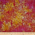 Batik by Mirah Sunflower Leaves Tango Pink