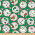 In The Beginning Fabrics Joy Peace & Love Candy Cane Green