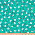 QT Fabrics Digital Jesus Loves Me Doves Light Teal