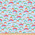 QT Fabrics Digital Jesus Loves Me Rainbows Light Blue
