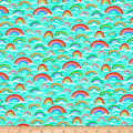 QT Fabrics Digital Jesus Loves Me Rainbows Light Teal