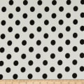 Liverpool Double Knit Large Polka Dot Ivory/Black