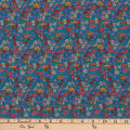 Liberty Fabrics Silk Crepe de Chine Poppy Park Blue