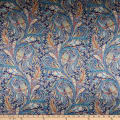 Liberty Fabrics Silk Satin Charmeuse Great Missenden Blue