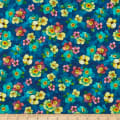 QT Fabrics  Rosalyn Packed Floral Navy