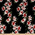 Double Brushed Poly Jersey Knit Floral Garden Black/Red