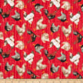 Windham Fabrics Early Bird Tossed Chickens Red