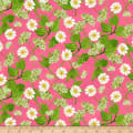 Clothworks Zinnias In Bloom Toss Raspberry