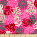 Stoffabric Denmark Blooming Garden Leaves Pink