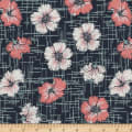 Stoffabric Denmark Avalana Jersey Knit Prints Rose Flowers Night Blue