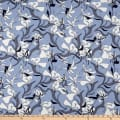 Stoffabric Denmark Avalana Viscose Digital Flowers and Leaves Blue